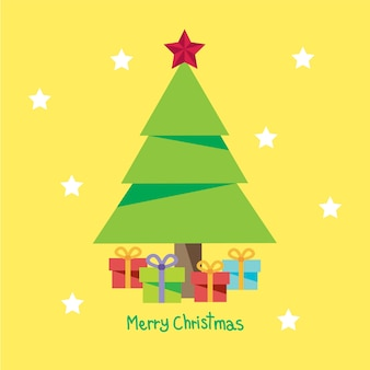 Merry christmas wenskaart met een kerstboom.