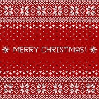 Merry christmas wenskaart met gebreide structuur. trui patroon.