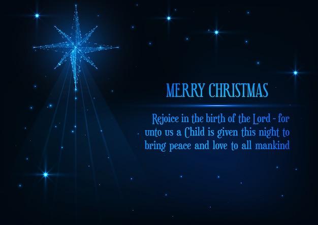 Merry christmas wenskaart met gloeiende laag poly kerststal bethlehem ster en religieuze zin.