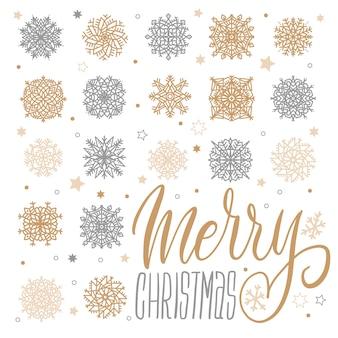 Merry christmas wenskaart met gouden en zilveren sneeuwvlokken