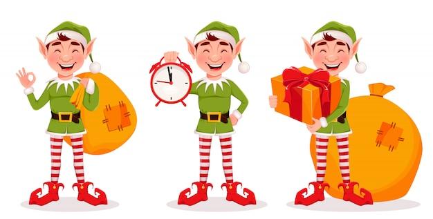 Merry christmas wenskaart met grappige elf