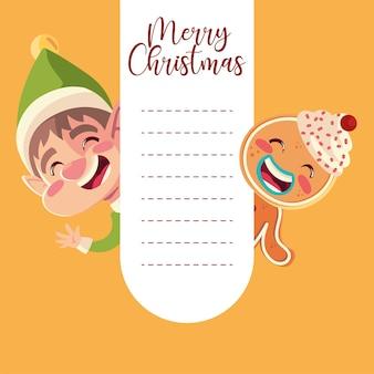 Merry christmas wenskaart met helper en peperkoek man illustratie