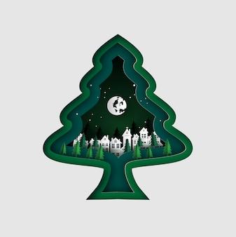 Merry christmas wenskaart met kerstboom.