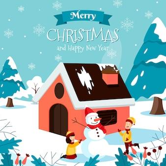 Merry christmas wenskaart met kinderen sneeuwpop en tekst maken