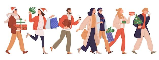 Merry christmas-wenskaart met mensen die lopen en zich haasten voor een kerstuitverkoop