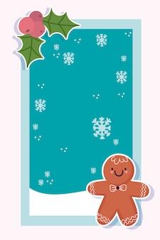 Merry christmas wenskaart met peperkoek man sneeuwvlokken en holly berry Premium Vector