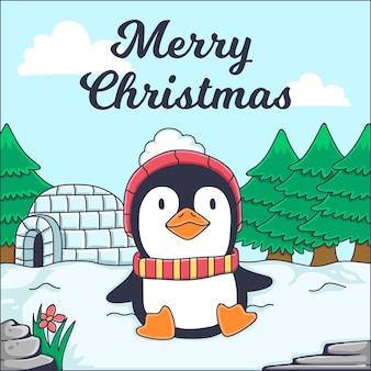 Merry christmas wenskaart met pinguïn illustratie