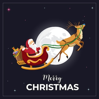 Merry christmas wenskaart met santa claus en rendieren