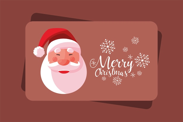 Merry christmas wenskaart met santa gezicht en sneeuwvlokken illustratie