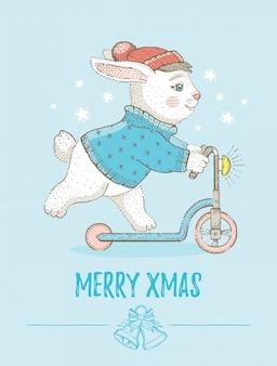 Merry christmas wenskaart met schattig konijntje. schets konijn op scooter. cartoon vectorillustratie