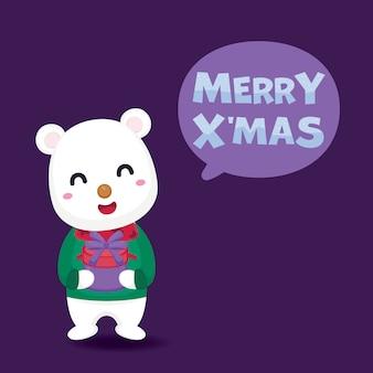 Merry christmas wenskaart met schattige ijsbeer en geschenkdoos.
