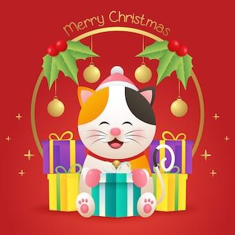 Merry christmas wenskaart met schattige kat