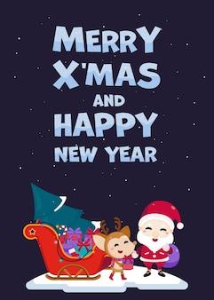 Merry christmas wenskaart met schattige kerstman, rendieren en geschenkdoos op slee rijden.