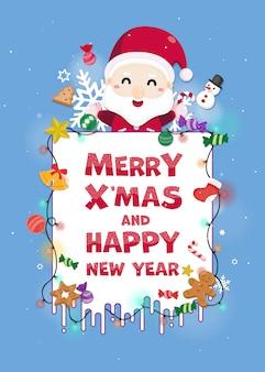 Merry christmas wenskaart met schattige kerstman.