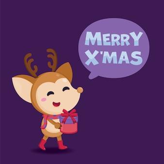 Merry christmas wenskaart met schattige rendieren en geschenkdoos.