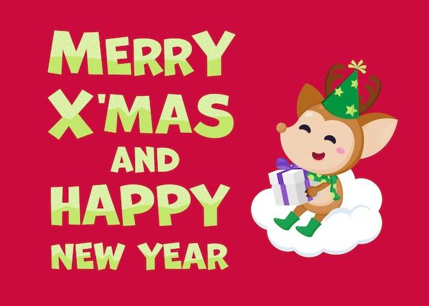 Merry christmas wenskaart met schattige rendieren. illustratie leuke kerst sjabloon.