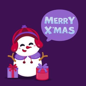 Merry christmas wenskaart met schattige sneeuwpop en geschenkdoos.