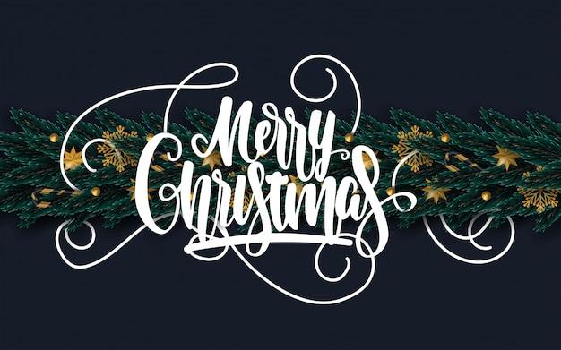 Merry christmas wenskaart met versierde boomtakken