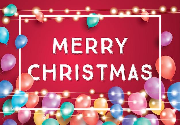 Merry christmas wenskaart met vliegende ballonnen, wit frame en neon garland. vectorillustratie.