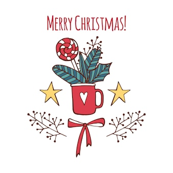 Merry christmas wenskaart met xmas berry en snoep