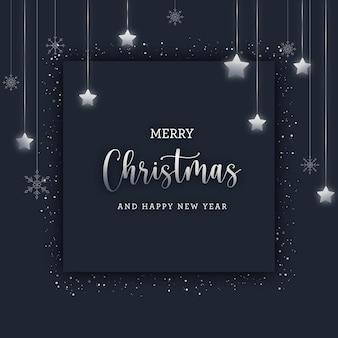 Merry christmas wenskaart met zilveren sneeuwvlokken en sterren op donkere achtergrond