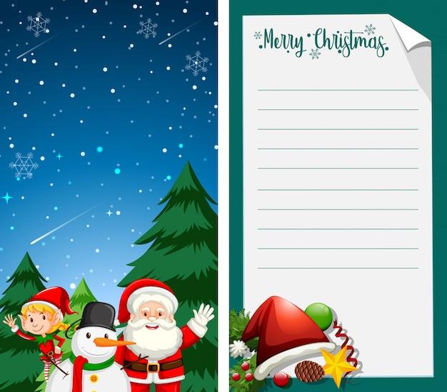 Merry christmas wenskaart of brief aan de kerstman met tekstsjabloon