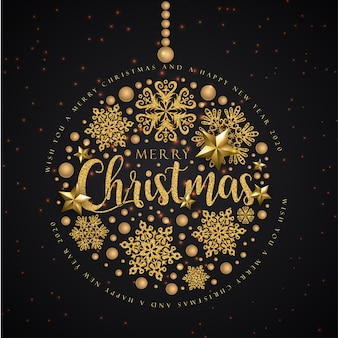 Merry christmas wenskaart op zwart en goud kleur