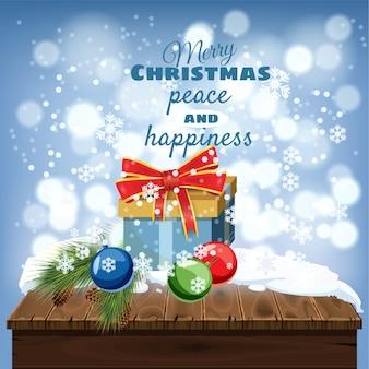Merry christmas wenskaart, oude tafel bedekt met sneeuw, geschenkdozen, kerstversiering