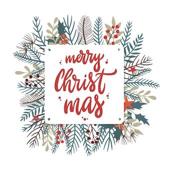 Merry christmas wenskaart poster uitnodiging
