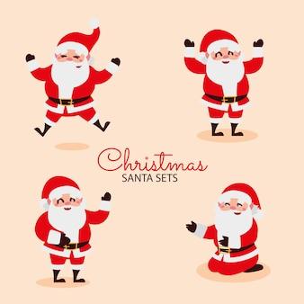 Merry christmas wenskaart santa cartoon viering illustratie