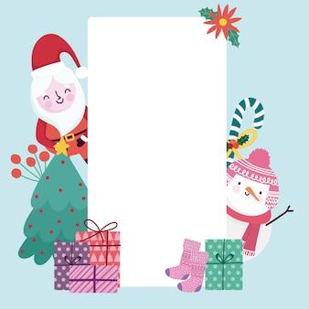 Merry christmas wenskaart schattige santa sneeuwpop geschenken en holly berry