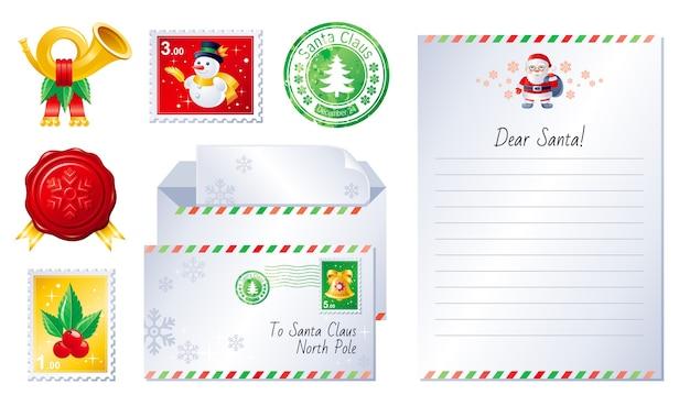 Merry christmas wenskaart set met brief voor de kerstman
