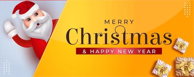 Merry christmas wenskaart uitnodiging achtergrond met santa claus christmas elementen