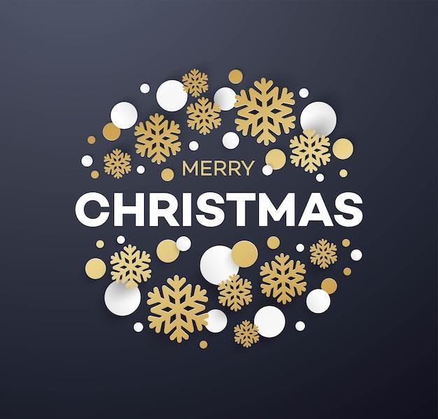 Merry christmas wenskaart vector sjabloon. kerst belettering met decoratieve papieren confetti en sneeuwvlokken. gouden en witte papercut kerstversieringen. ontwerpelement voor posterkleur
