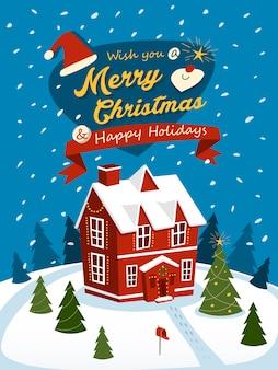 Merry christmas wenskaarten met rood huis geïsoleerd op een besneeuwde dag