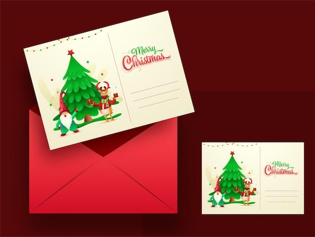 Merry christmas wenskaarten of uitnodiging met rode envelop illustratie.