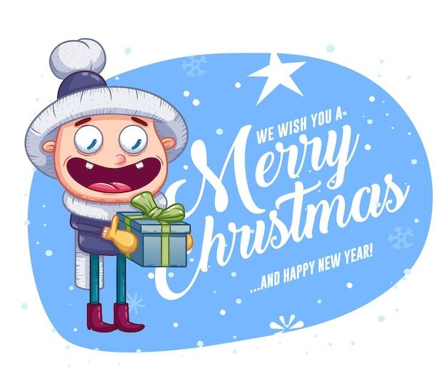 Merry christmas wenskaarten retro design. vector illustratie