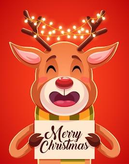 Merry christmas wenskaarten retro ontwerp. illustratie
