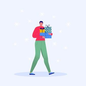 Merry christmas-wenskaartsjabloon met man die loopt en cadeautjes draagt, geschenkdozen. kerst winterposter, spandoek, uitnodigingen