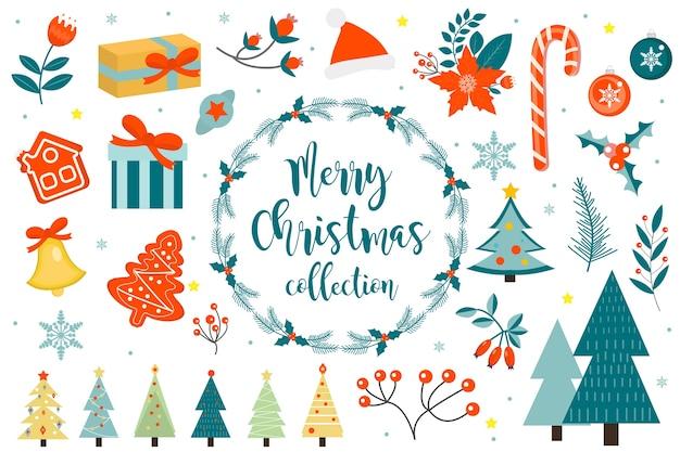 Merry christmas winter-objecten instellen. verzameling van ontwerpelementen met hulst, poinsettia, dennentak, dennen, bel, geschenken, kerstmuts.