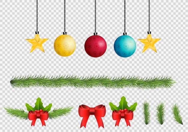 Merry christmas winter vakantie realistische symbolen set.lamp met pijnboombladeren ster gouden speelgoed transparante achtergrond Premium Vector