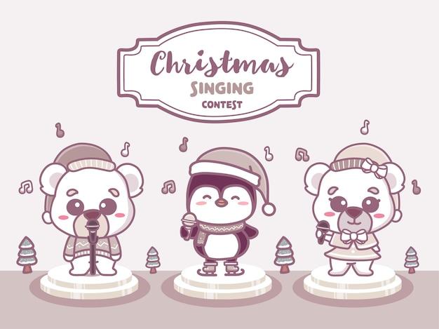 Merry christmas zangwedstrijd banner. grappige dieren zingen muziekwedstrijd