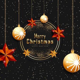 Merry christmas zwarte achtergrond met gloeiende stippen gouden sterren en bubbels vector