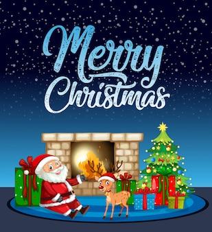Merry chritsmas santa en rendieren kaart