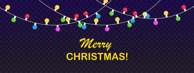 Merry chtistmas banner new years lichten slinger geïsoleerd op een donkere achtergrond vectorillustratie