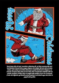 Merry cristmas kerstman skate en skate go skate illustratie santa vector