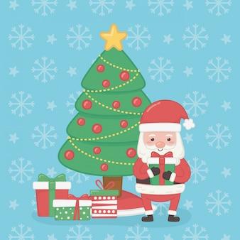 Merry merry christmas card met santa claus en pijnboom