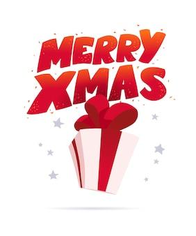 Merry xmas belettering felicitatie ontwerp geïsoleerd met geschenkdoos. gelukkig nieuwjaar begroeting sms-bericht. vectorillustratie platte cartoon. voor kaarten, banners, tags, adverteren.