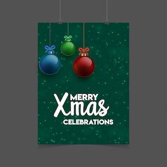 Merry xmas celebration christams ballen achtergrond