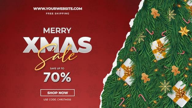 Merry xmas sale met papercut-achtergrond